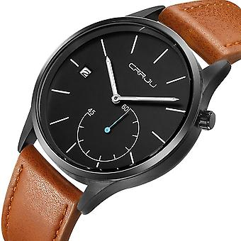 CRRJU 2129 Casual Style Kalender Män Armbandsplädret Läderrem Arbets-ratt
