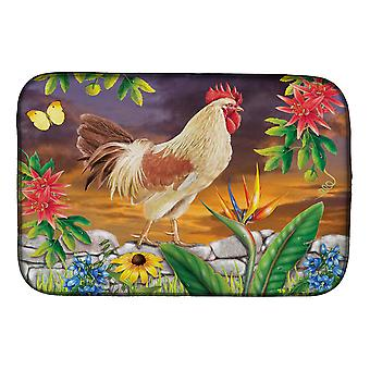 Carolines Treasures PRS4025DDM White Rooster Dish Drying Mat