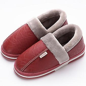 Indoor kožené zimné vodotesné teplé domáce kožušiny ženy papuče