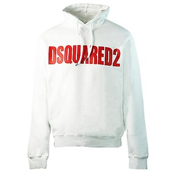 Dsquared2 New Dan Fit Large Logo White Hoodie