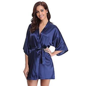 New Silk Kimono Robe Bathrobe Women Silk Bridesmaid Robes Sexy Navy Blue Robes
