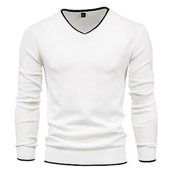 Cotton Pullover V-neck Men's Sweater, Solid Color Long Sleeve, Autumn Slim,