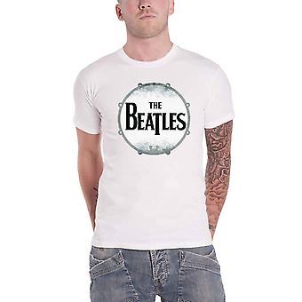 The Beatles T Shirt Drumskin Band logo distressed Official Mens New White