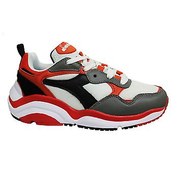Diadora Whizz Run White Red Low Lace Up Mens Running Trainers C8021