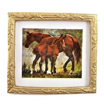 Dolls House Horse & Foal Picture In Gold Frame 1:12 Miniature Accessory