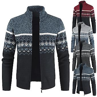 Men's Full Zip Fleece Lined Slim Fit Cable Knitted Cardigan Sweaters
