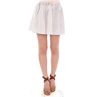 White cotton checkered stretch skirt