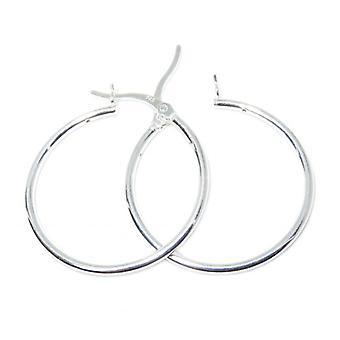 Orecchini in argento creolo creolo a cerchio semplice Apx 26mm .925 X 1 paio di cerchi