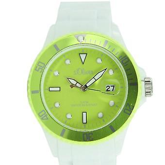 s.oliver Damen Uhr Silkon Armbanduhr weiß hellgrün SO-2718-PQ