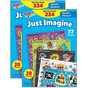 Just Imagine Sparkle Stickers Variety Pack, 234 Par Pack, 2 Packs