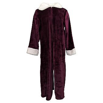 Soft & Cozy Women's Robe Zip Front Velvety Soft Long Sleeve Purple 670-471