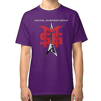 Vaalea Sage Vihreä Glitter Smiley T Shirt Michael Schenker Group Msg Rock