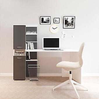 Lotus White Desk, Melamine Spaanplaat Antraciet, Metaal, L60xP31.5xA135 cm, L120xP60xA73.8 cm