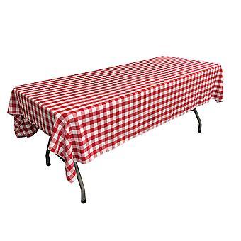 Poliéster de lino Gingham a cuadros 60 por mantel rectangular de 90 pulgadas, blanco y rojo