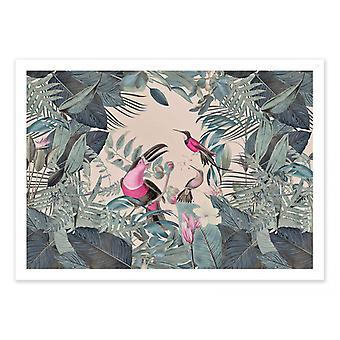 Plakat artystyczny - Tropikalna dżungla toucan różowy - Andrea Haase