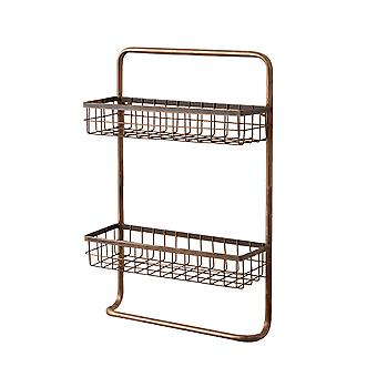 Copper Finished 2 Tier Metal Wire Wall Shelf with Towel Holder