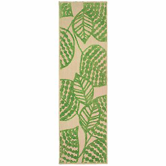 8' Sand and Lime Green Leaves Indoor Outdoor Runner Rug