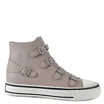 Ash Footwear Virgin Leather Buckle Trainers Pearl