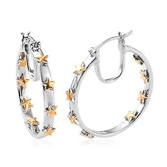 Womens Star Hoop Earrings in Platinum and Yellow Gold Plated Sterling Silver