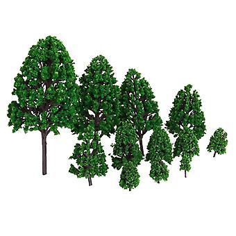 12pcs Green Landscape Scenery Diy  Plastic Model Trees