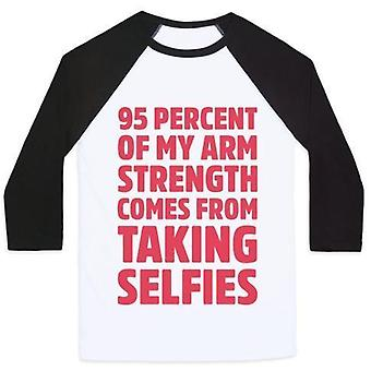 95 Percent of my arm strength comes from taking selfies unisex classic baseball teevz68147