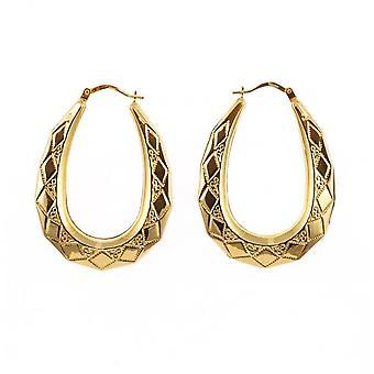 Eternity 9ct Gold Large 40mm Kite Pattern Creole Hoop Earrings