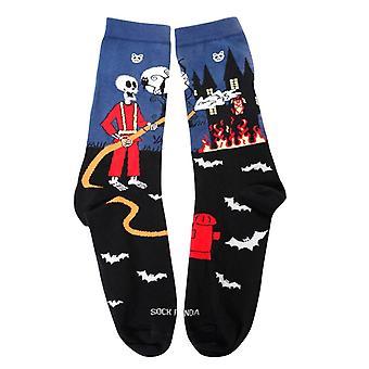 Skeleton Fireman and Haunted House Socks (Adult Large)