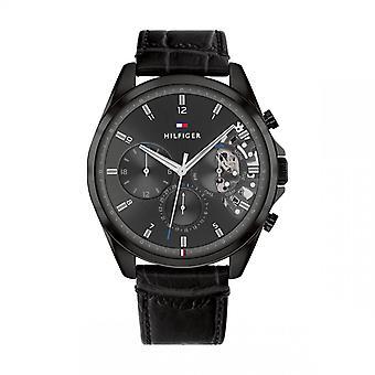 Tommy Hilfiger BAKER Relógio Masculino 1710452 - Pulseira de Couro Preto