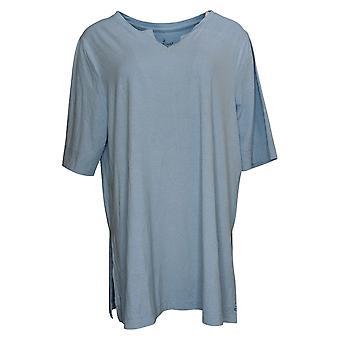 Cuddl Duds Women's Top Flexwear Elbow Sleeve V-Neck Tunic Blue A391550