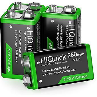 FengChun 9V Akku, 9V Block Batterien, 280mAh NI-MH Wiederaufladbare Batterie, 1200 Ladezyklen, 4