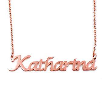 KL كاتارينا مخصص اسم روز الذهب مطلي قلادة 18 قيراط سلسلة قابل للتعديل 16 19 سم.