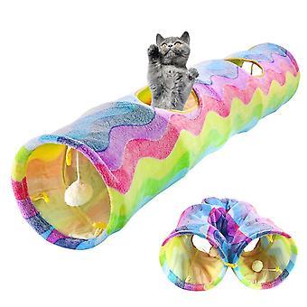 2 gaten opvouwbare huisdier kat tunnel speelgoed kitten konijn binnen buiten hangende bal training speelgoed spelen