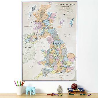 Medium UK Klassisk väggkarta (pappers laminering på en sida)