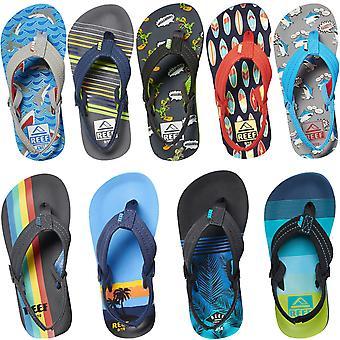 Reef Little Ahi Kids Boys Summer Beach Holiday Pool Slip På Flip Flops Sandaler