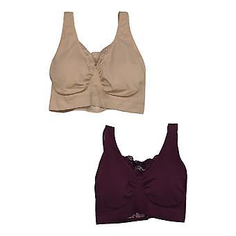 Rhonda Shear One 2-pack Cotton Blend Ahh Bra w/ Lace Beige 679965