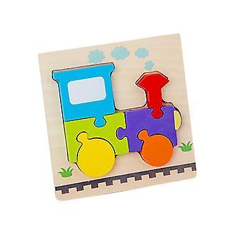 2Pcs train children's wooden 3d geometric puzzle, baby jigsaw building blocks educational toy az1713