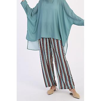 Blouse With Striped Pants Suit