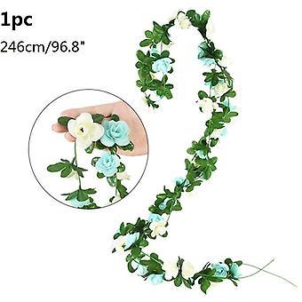 زهرة اصطناعية كرمة اللبلاب ليف غارلاند الحرير روز الزهور حديقة المنزل