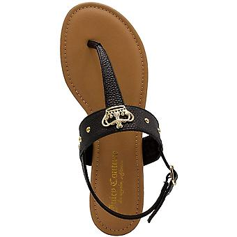 Juicy Couture Womens Flat Thong Sandals with T-Strap and Adjustable Ankle Buckle -Womens Slingback Sandal with Stylish Crown Emblem-Zing
