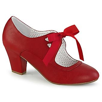 Pin Women's Shoes Up Red Faux Leather
