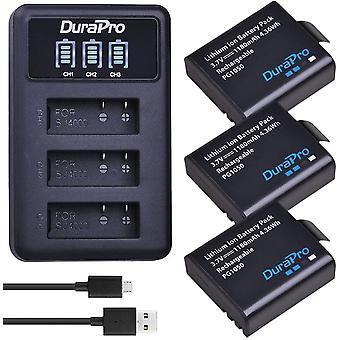 3Pcs PG1050 Battery + LED 3-Slots USB Charger for Crosstour SJCAM SJ4000 Sj5000 Apeman AKASO EK7000