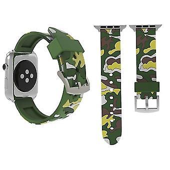 Pasek zegarka Silicone Watch w trybie kamuflażu do zegarków Apple Watch Series 3 i 2 i 1 42mm Zielony