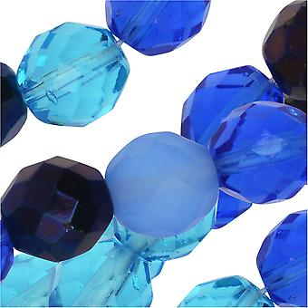 Czech Fire Polished Glass Beads, Faceted Round 10mm, 50 Pieces, Blue Tones Mix