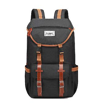 17.3 Inch Laptop Outdoor Vintage Backpack Multi-compartment Large College School Rucksack-canvas Dark Gray