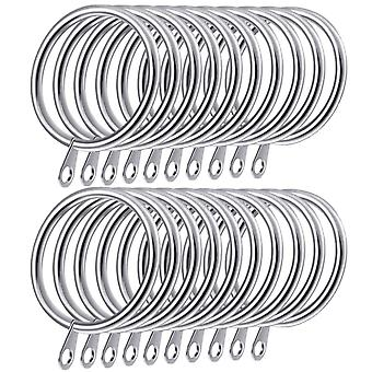 Curtain Rings 20pcs 38mm Metal Curtains Hanging Ring For Home Bathroom Bedroom Curtains And Rods, Silver 38mm Diameter