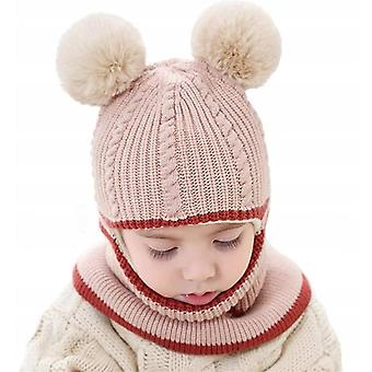 Baby Winter Thick Warm And Windproof Double Hair Ball One-piece Woolen Cap (beige)