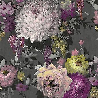 Azzura Floral Charcoal Wallpaper