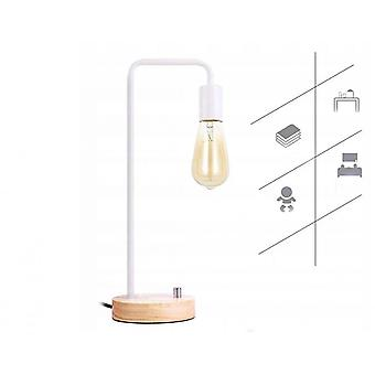 Table Lamp Solid Wood Table Lamp Bedroom Lamp Bedside Lamp Dimmable Night Light Small Table Lamp, White