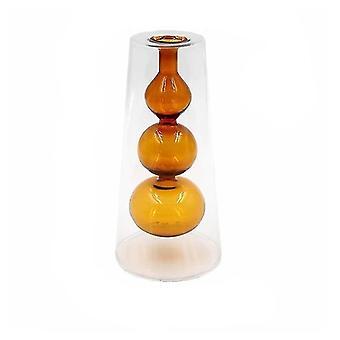Nordisk design kreativ dubbelmålad glas dekor vaser (Brun 1)