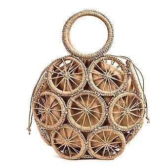 Natural rattan hand woven hand bags(Brown Handbag)